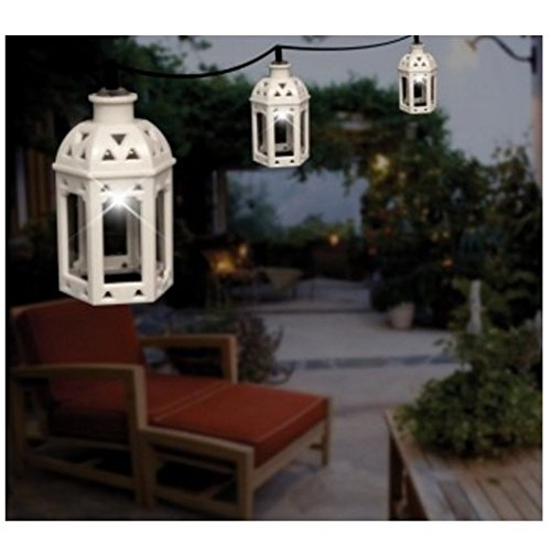 Hanging Solar Lights Outdoor LED Lantern Set of 10 in White - Outdoor String Lighting is Perfect For Brightening Up Your Patio, Deck, Garden or Backyard (Outdoor Lantern Lighting String compare prices)