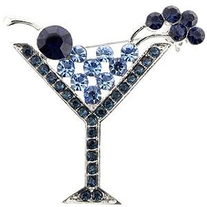 Montana Blue Martini Glass Pin Brooch