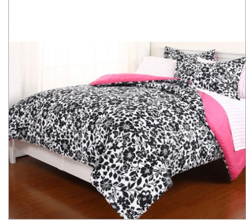 Black, White & Pink Reversible Girls Twin Comforter Set (5 Piece Bed In A Bag)