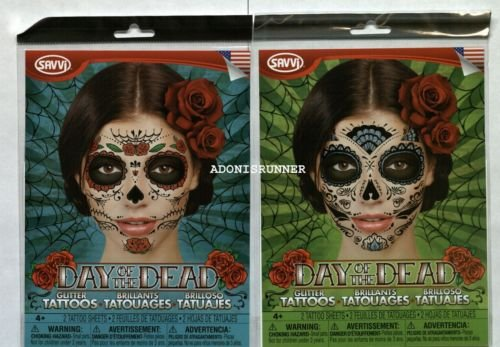 [4 sugar Skull & Rose Zombie Day of the Dead Dia De Los Muertos Face Mask tattoos] (Donald Duck Costume Makeup)