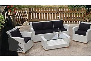 Charleston Four Piece Outdoor Deep Seating Wicker Set in White