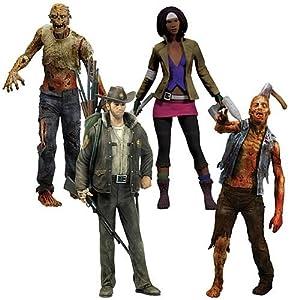 McFarlane Toys The Walking Dead COMIC Series 1 Set of 4 Action Figures Officer Rick Grimes, Michonne, Zombie Roamer Lurker
