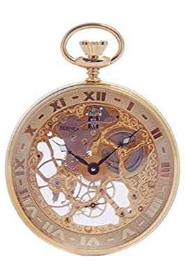 Bernex Pocket Watch BN24101 Gold Plated Open Face Skeleton