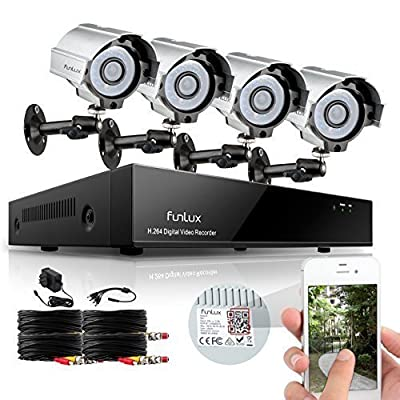 Funlux 8CH Surveillance Security Camera System QR Code Quick View 960H DVR with 4 Night Vision IR-Cut Built-in 700TVL Weatherproof High Resolution Outdoor Surveillance Cameras No Hard Drive
