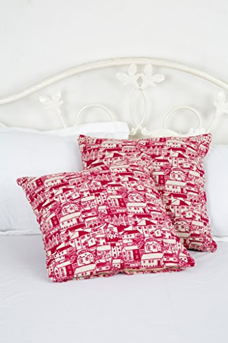 "The City Red Cushion Covers Set Of 2 Pcs. (Size 16x16"")"