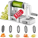 Gourmia GSS9615 Foldable 5 Blade Spiralizer Vegetable Slicer – 5 Stainless Steel Blades for Thick and Thin Pasta Spirals - No-Skid Suction Feet - Storage Container - BPA Free