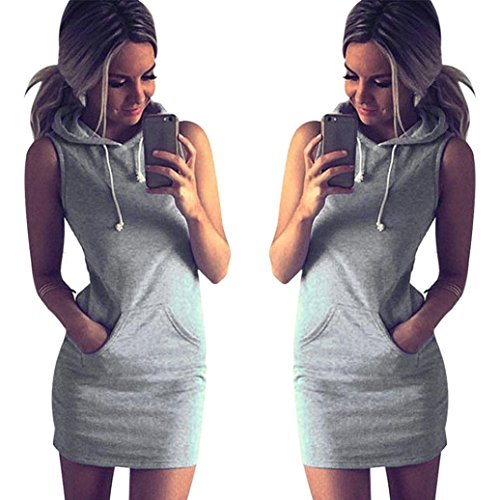 GBSELL Fashion Womens Summer Casual Sleeveless Hoody Dress (L)