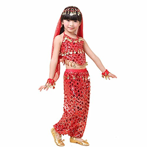 Pilot-trade Kid's Belly Dance Girl Halter Top, Harem Pants, Halloween Costume Set