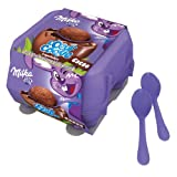 4 x Milk Chocolate Mousse In Milk Choccy Shells Eggs & Spoons - Milka 136g
