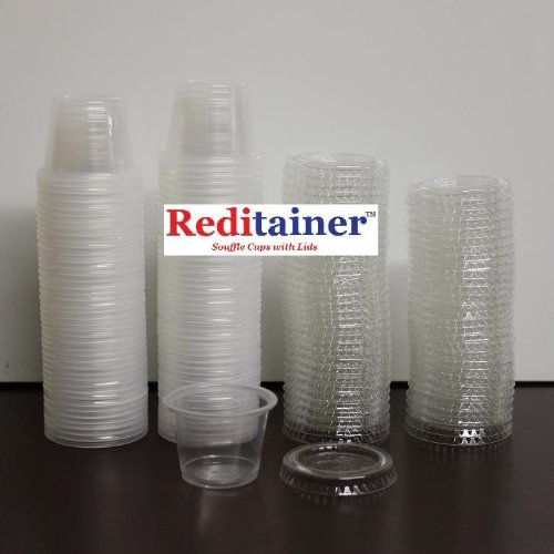 Reditainer - Plastic Disposable Portion Cups - The Souffle Cup (1 Ounce, Package of 100 Cups With Lids) (1 Oz Plastic Cups compare prices)