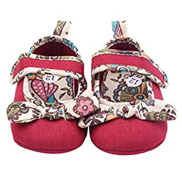 Voberry® Baby-girls Newborn bowknot Mary Janes (12, Red)