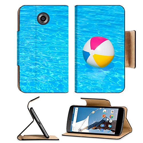 MSD Premium Motorola Google Nexus 6 Flip Pu Leather Wallet Case IMAGE ID 30943046 Inflatable colorful ball floating in the swimming pool
