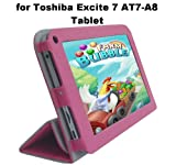 Toshiba Excite 7 AT7-A8 Tablet Custom Fit Portfolio Leather Case Cover with Built In Stand- Pink