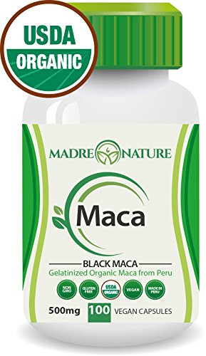 Certified Organic Gelatinized Black Maca Root Powder Supplement - 500mg X 100 Capsules (Vegan) - Peruvian Andes - Gluten-free by Madre Nature (Mass Peak Protein Powder compare prices)