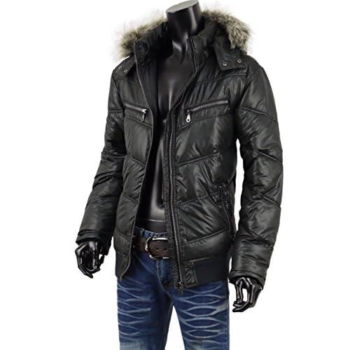 中綿 ジャケット ブルゾン メンズ 冬アウター シレジャケット フード キルティング ジャケット S251024-03 ブラック LL