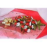 Truffles in Bloom Edible Long Stem Rose Bouquet (Milk Chocolate (Metallic Red), Dozen)