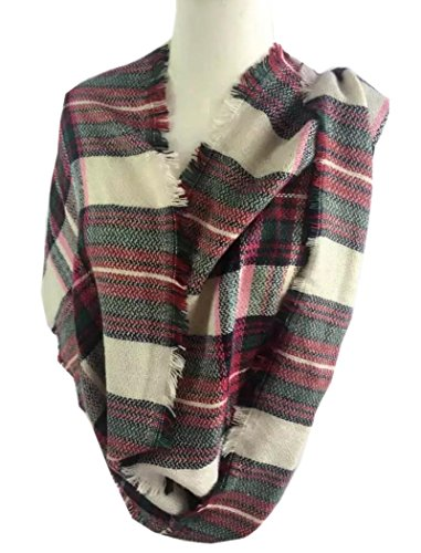 HONEYJOY Lady Comfort Warm Fashion Lovely Chunky Tartan Plaid Blanket Scarf Wrap (03)