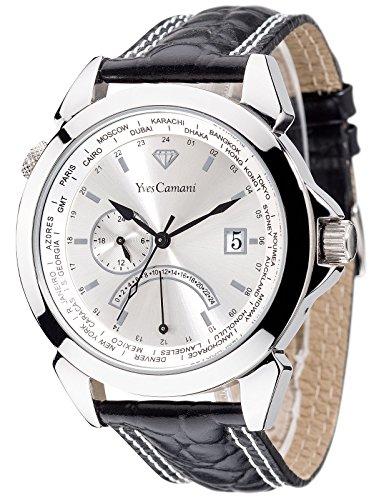 Yves Camani RISETTE Schwarz Silber Dual Time YC1066-B - Reloj unisex, correa de cuero color negro