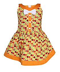 Chipchop Girls' Dress (WFGD0021O_Orange_3-4 Years)