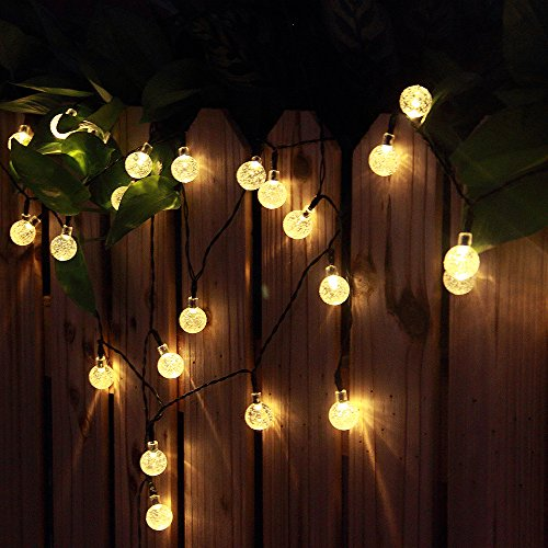 Innoo Tech Solar Globe String Lights Outdoor 19.7 ft 30 LED Warm White Crystal Ball Christmas ...