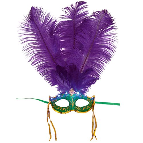 Jacobson Hat Company Women's Light-Up Mask with Feather, Mardi, Adult