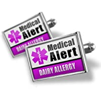 "Neonblond Cufflinks Medical Alert Purple ""Dairy Allergy"" - cuff links for man from NEONBLOND Jewelry & Accessories"