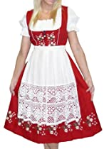 Hot Sale Dirndl Trachten Haus 3-Piece Long German Wear Party Oktoberfest Waitress Dress 10 40 Red