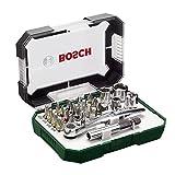 Bosch Screwdriver Bit and Ratchet Set Hand Tool Kit - 26 Pieces 2607017322 (Color: Blue)