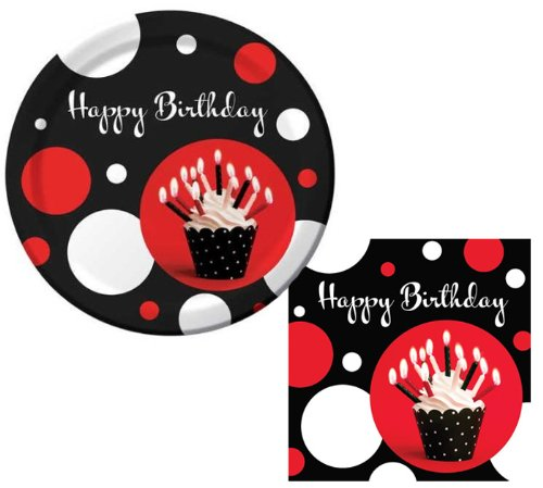 Polka Dot Cupcake Blowout Lunch Napkins & Lunch Plate Party Kit for 8 - 1