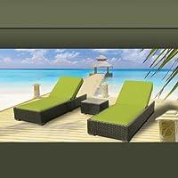 Luxxella Outdoor Patio Wicker Furniture 3 Pc Chaise Lounge Set PERIDOT by Luxxella