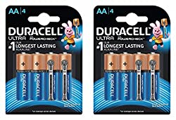 Duracell Ultra Alkaline Battery AA with Duralock Technology and PowerCheck (8 Pieces)