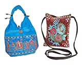 #8: Stop Here Combo Of Handmade Rajasthani Culture Hobo And Traditional Small Sling Bag