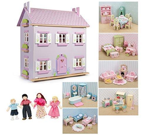 Casa delle bambole le toy van in legno color lavanda con for Pezzi di arredamento