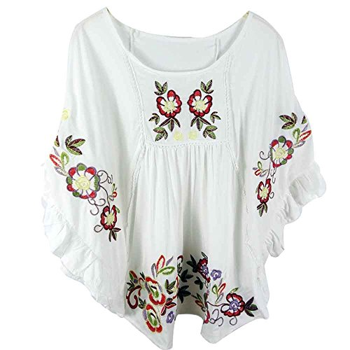 Ashir Aley Casual Embroidered Mexican Peasant Cotton White Vintage Blouse, Medium Petite, White