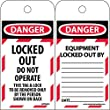 LOTAG34ST100 Polytag National Marker Tags, Lockout, Danger, LOCKED Out Do Not Operate, 6 Inches x 3 Inches, Polytag, Box of 100
