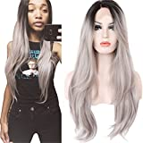 Ebingoo Long Straight Black Root Ombre Grey Lace Front Wig Synthetic Hair Wigs for Women Half Hand Tied JLS005