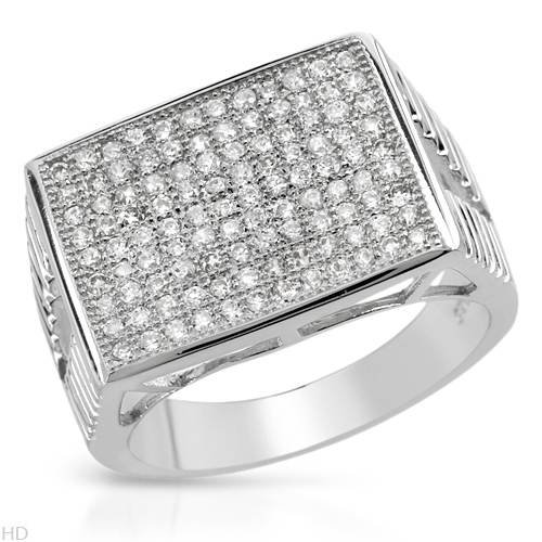 Gentlemens Ring With 3.03ctw Cubic zirconia in 925 Sterling silver. Total item weight 8.0g (Size 9)