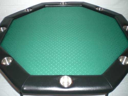 Texas Holdem Poker Table w/ Stainless Cup Holders, Suited Speed Cloth, with Folding Table Legs 48″x48″x30″high – Forest Green