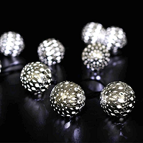 Icicle Solar Moroccan Ball String Lights, 11ft 10 LED Large-Size Globe Fairy Lighting for Indoor ...