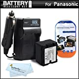 Battery And Charger Kit For Panasonic HDC-TM900K 3 MOS 3D Compatible Camcorder Includes Extended Replacement (1500Mah) VW-VBN130 Battery (Fully Decoded!) + AC/DC Travel Charger + LCD Screen Protectors + MicroFiber Cleaning Cloth