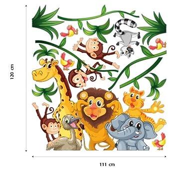 Adesivo murale per bambini wall art cameretta giungla - Decorazione parete cameretta ...