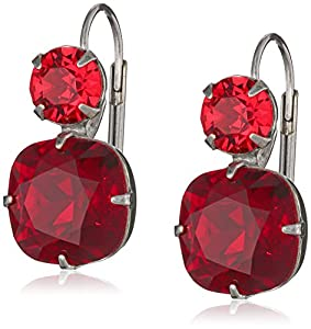 "Sorrelli ""Cranberry"" Cushion Cut Antique Silver-Tone Red Drop Earrings"