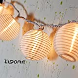 LIDORE Set of 10 White Oriental Style Nylon Lantern String Light for Indoor and Outdoor decor