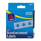 Avery Clear Self-Adhesive Reinforcement Labels, 0.25 Inches, Round, Pack of 200 (5721)