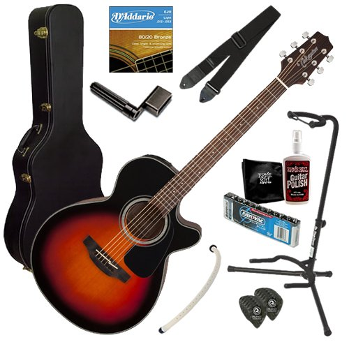 Takamine Gf30Ce Solid Spruce Top Fxc Cutaway Acoustic-Electric Guitar With Rosewood Fretboard Bundle With Strings, Capo, Strap, Instrument Cable, Wall Hanger, Tuner, Stringwinder, Picks, And Polishing Cloth - Brown Sunburst