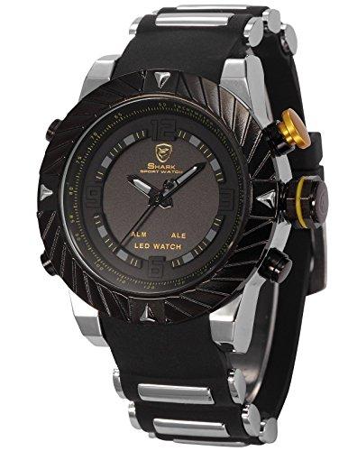 SHARK SH168-Orologio da polso uomo,Gomma & Acciaio,Datario Sveglia Analogico Digitale Sportivo Quarzo,colore:Nero