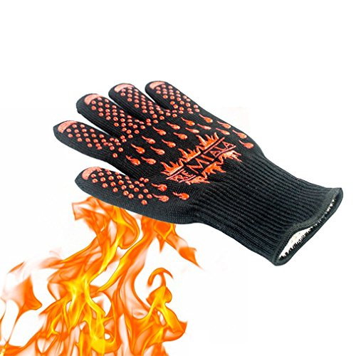 Heat Resistant Gloves,AmyTalk 2Pcs BBQ Grilling Cooking Gloves,932°F Extreme Heat Resistant Oven Mitts Gloves,100% Cotton Lining, Stripes for Ultimate Grip, Versatile for Kitchen (Grill Gloves) (Kevlar Wood Stove Gloves compare prices)