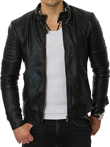 Prestige Homme-Giacca da uomo trapuntato in finta pelle Biker MR03 nero s