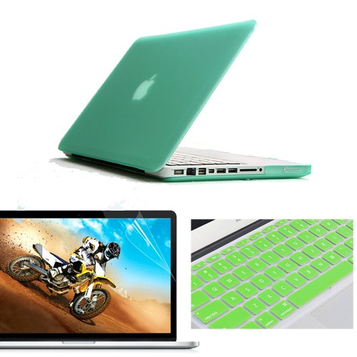 "NovaMass 3 in 1 (Value Pack) Matte Rubberized Hard Case Cover Shell Skin for 13.3"" inches Macbook Pro Aluminum Unibody - With Silicone Protective Keyboard Skin Cover, Ultra Clear Screen Protector - Ti"