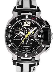 Tissot T-Race Chronograph Black Dial Black and White Rubber Mens Watch T0484172705710